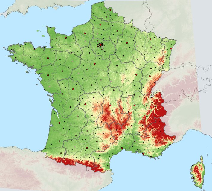 Hoogtekaart Van Frankrijk Profiel En Helling