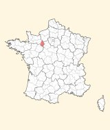 kaart ligging Mortagne-au-Perche
