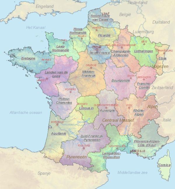 Kaart Van Frankrijk Landkaart En Plattegrond